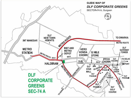 DLF Corporate Greens Map