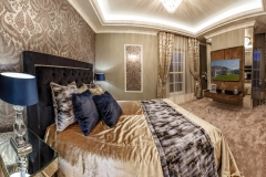 Master bedroom interior in brown tones